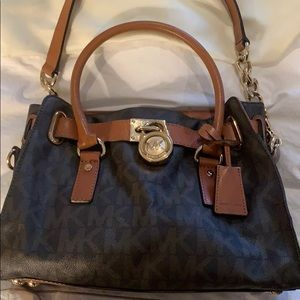 Micheal Kors Brown Leather Handbag with Gold chain